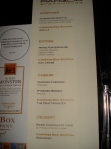 Menus of scotch and dinner.