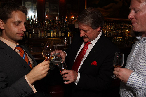 Ben Scorah of Bar & Books, The Dalmore Master Blender Richard Paterson, and David Blackmore of Glenmorangie.