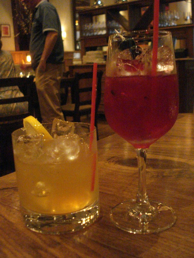 Arnold Palmer shochu cocktail and pomegranate-blueberry shochu cocktail.