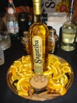 An enticing display for aged Sagatiba Cachaca