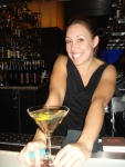 "Amanda Gager mixes up ""The Gingeroni"" (Plymouth, Lillet Blanc, Domaine de Canton) at Strip Steak at The Mandalay"