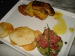 Tuna tartare with homemade chips and pan-seared foie gras with corn cake.