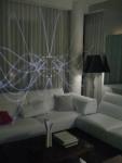 Futuristic mirrored projection walls in the Heineken lounge.
