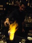 Frank Cisneros torches demerara sugar at Bar Celona