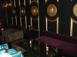 Gold lions and swanky seating at Bar Celona