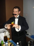 "A mustachioed Tad Carducci with his ""Gussied-Up Bread Line"""