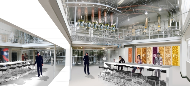 Plans for Beefeater Gin's visitor center. Image courtesy of Access Communications.
