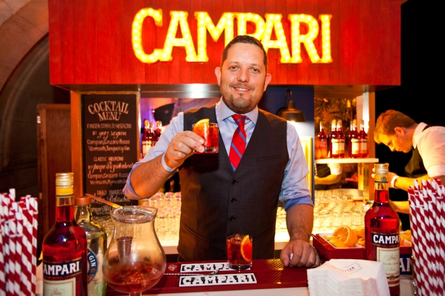 Jacques Bezuidenhout serves Negronis at Campari's bar at the 2013 MCC Gala. (Image courtesy M Booth)