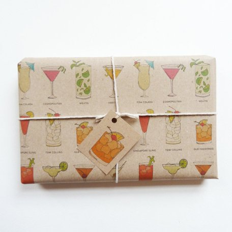 While it's too late to order UK designer Kate Broughton's classic cocktail gift wrap in time for Christmas, how lovely would it be to use this later in the year?